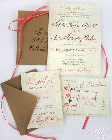 "RusticSweetCoral Wedding Invitation by  Melissa Meek of ""onelittlem"" using Belluccia Calligraphy Font by Debi Sementelli of Lettering Art Studio"