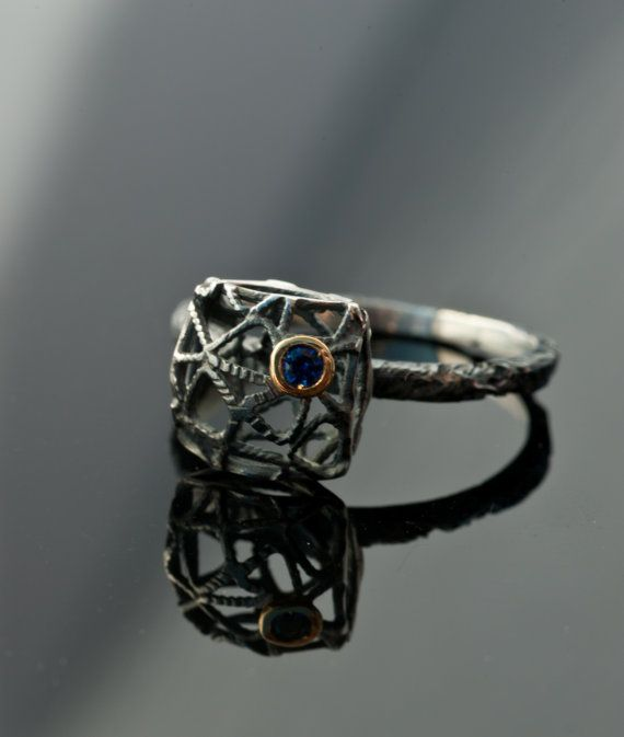 Square Black Sterling Silver Ring Ruby or Sapphire Ring