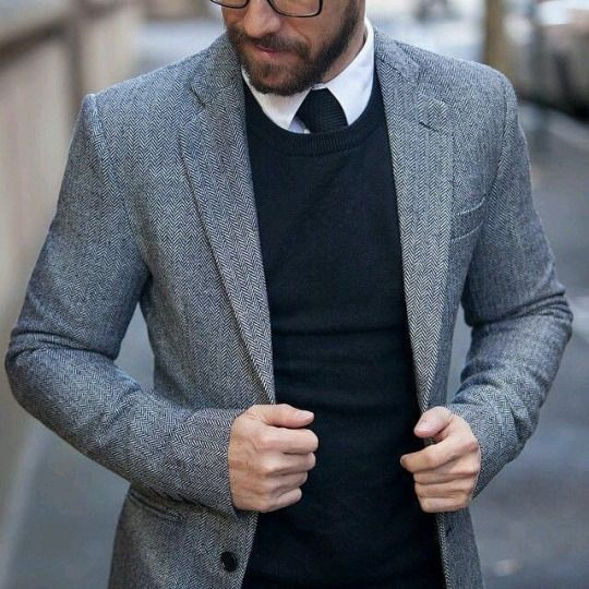 Classique Blanc Noir gris avec une touche de chevrons pour la veste