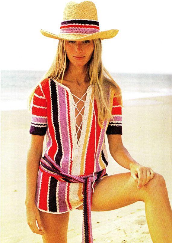 Vintage 70s Pattern Crochet Bikini COVERUP  PDF by KinsieWoolShop