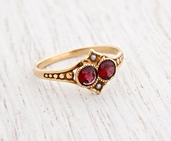Antique Victorian 10K Gold Garnet & Seed Pearl Ring - Size 6 1/4 Late 1800s Rosy Yellow Gold Fine Jewelry / Crimson Red, White by Maejean Vintage on Etsy, $290.00