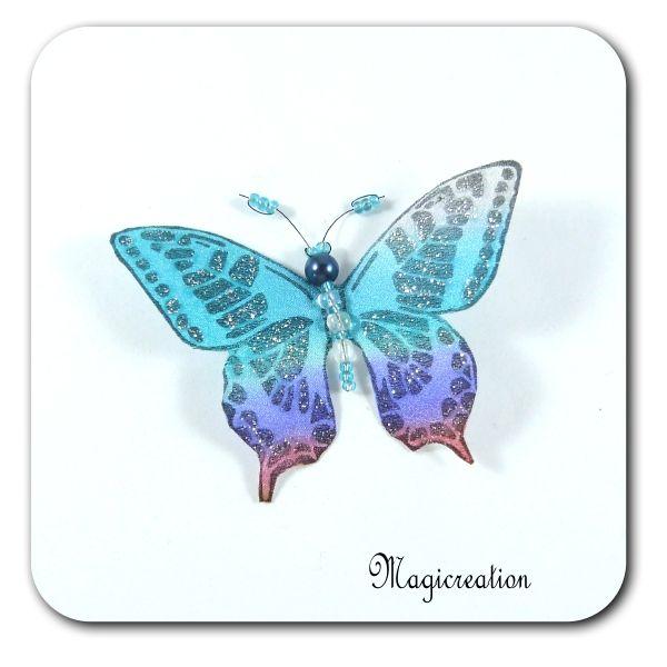 MAGNET PAPILLON SOIE BLEU ET VIOLET - LINA - Boutique www.magicreation.fr