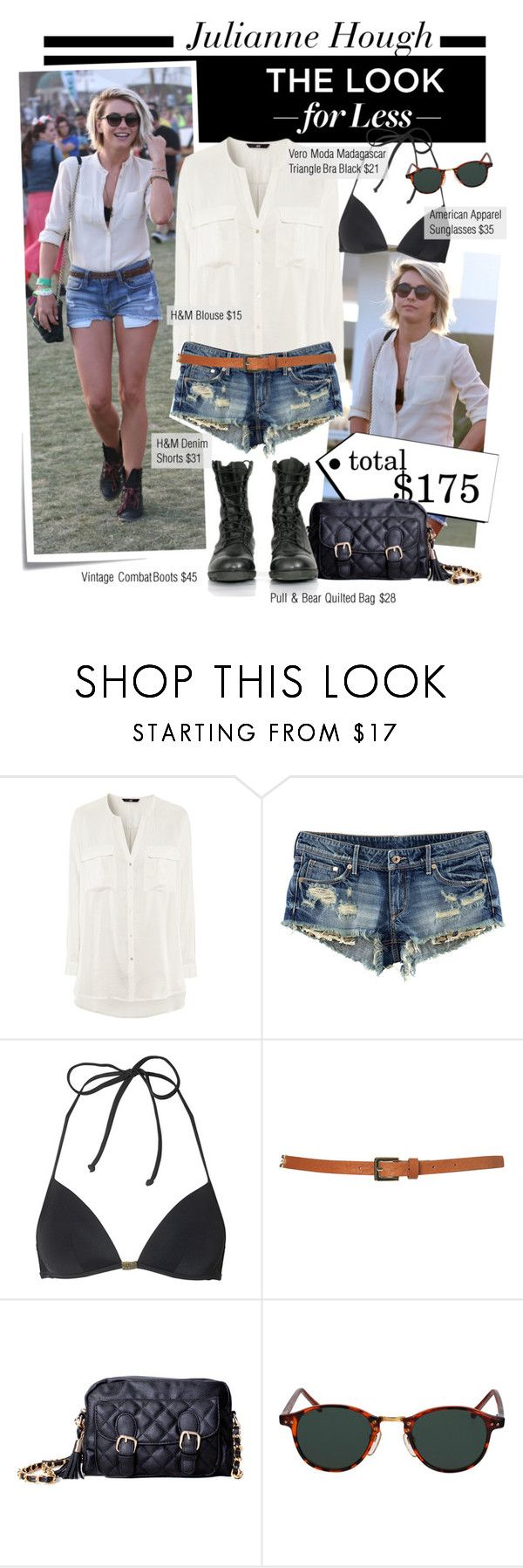 """""""Get the Look for Less: Julianne Hough at Coachella"""" by houseofhauteness ❤ liked on Polyvore featuring Post-It, JULIANNE, H&M, Vero Moda, Topshop, Pull&Bear, American Apparel, quilted handbags, combat boots and denim cutoffs"""