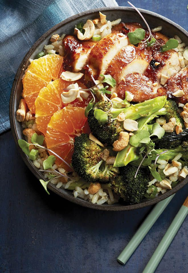 Loaded with broccoli, oranges slices and cashews, this hoisin chicken rice bowl recipe is a hearty way to start your week off on a healthy note.