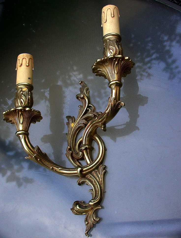 Beautiful french gold patina solid bronze heavy metal Arm Wall Lamp Electric Era us Art Deco