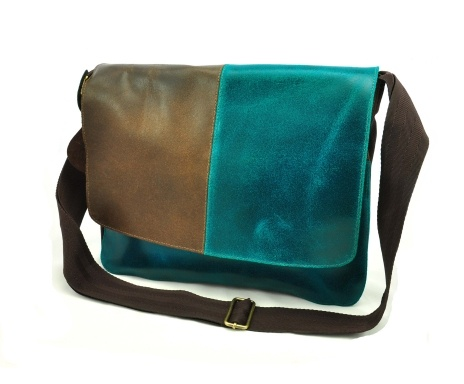 Schoudertas Manguito, turquoise/brown