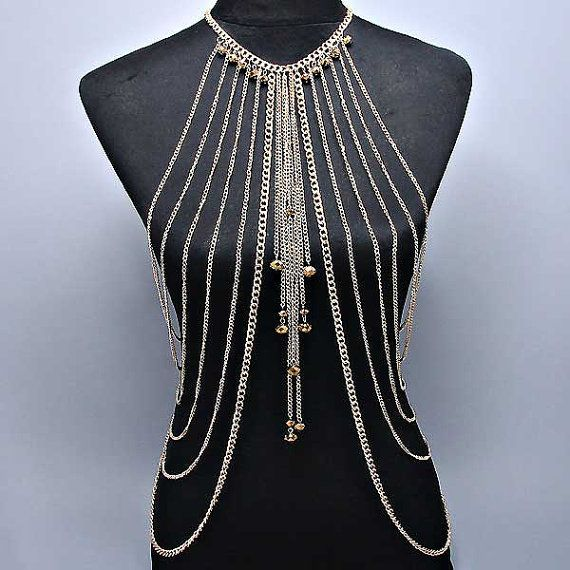 New Women Gold Multilayer Tassel Body Chain by ALLABOUTMYJEWELRY, $39.95 (You've got to admit that this is one heck of a statement piece.)