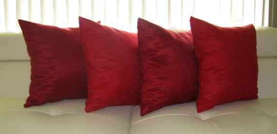 Faux Suede Decorative Pillow  Red and Dark Red by Landofpillows, $59.99