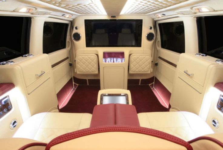 Ready to ride? Leather interiors, 42-inch television screen, and refrigeration units make for a seriously swanky ride.