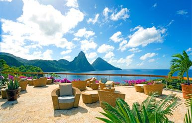 Jade Mountain, St. Lucia.  This luxurious resort rests majestically on the mountainside, and offers panoramic views of the Pitons and the Caribbean Sea. Known for its organic architectural design, each infinity-pool sanctuary has been individually designed to embrace the beauty of the magnificent natural surroundings.