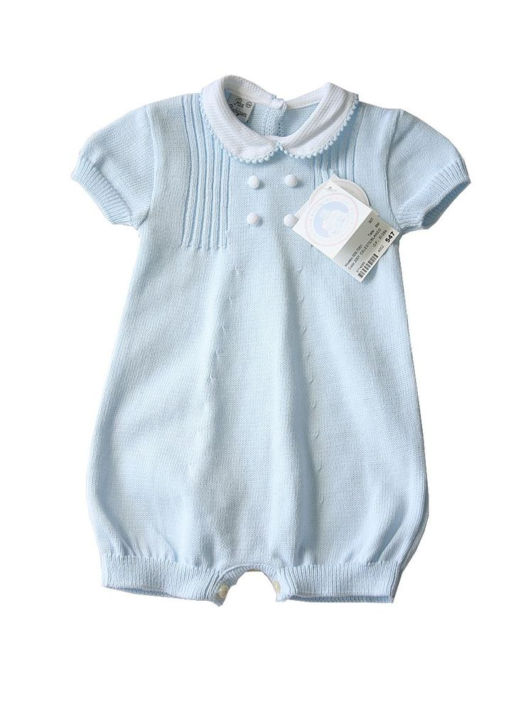 Baby Blue Cotton Knit Romper Suit With Peter Pan Collar