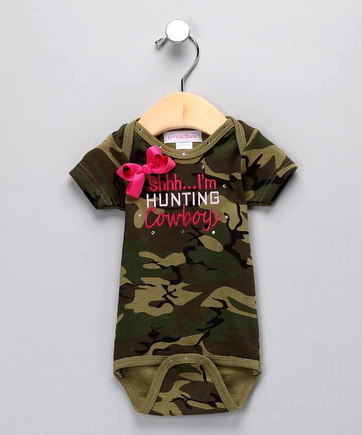 Green Camo 'I'm Hunting Cowboys' Bodysuit - ahhh! I need a baby