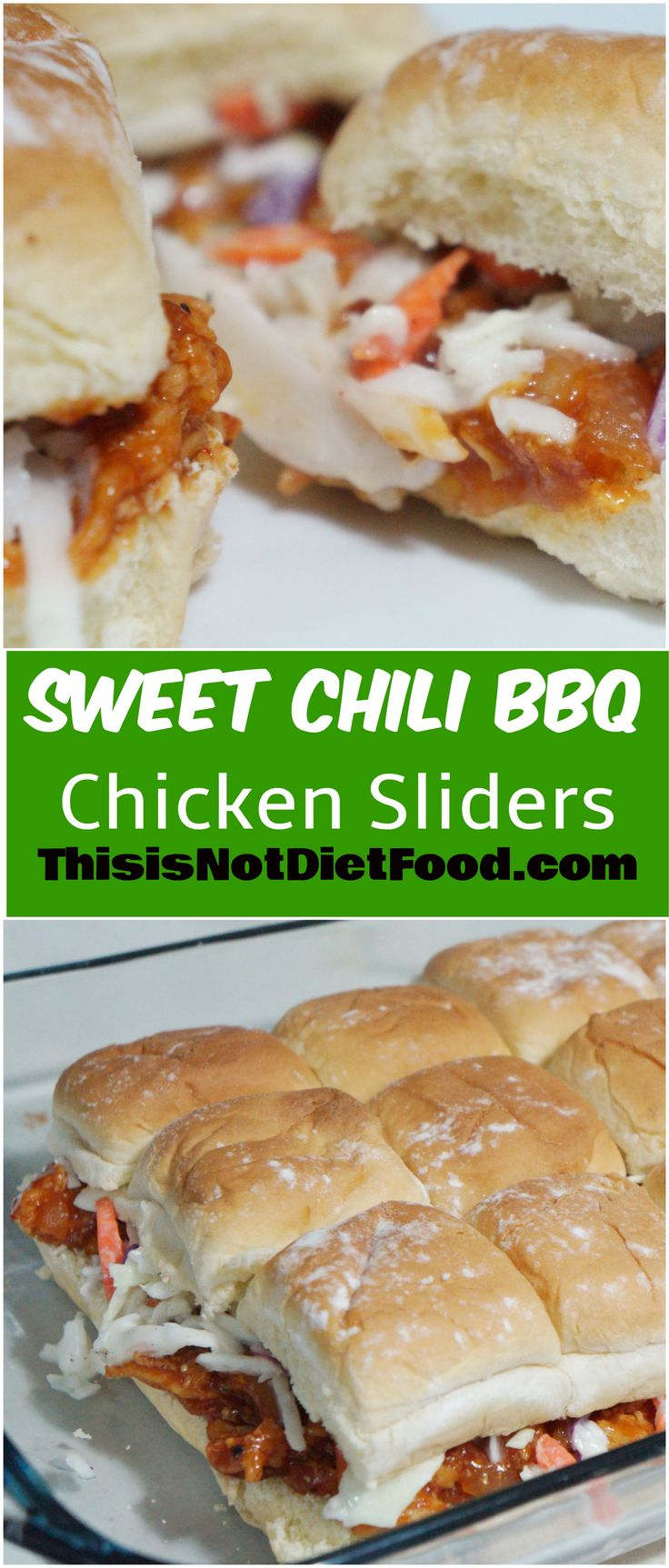 Sweet Chili BBQ Chicken Sliders. Great party snack or easy dinner option.