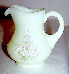 "Fenton - Pink Blossom - Small Custard Pitcher 4 1/2"" - Artist Signed P Bennett"