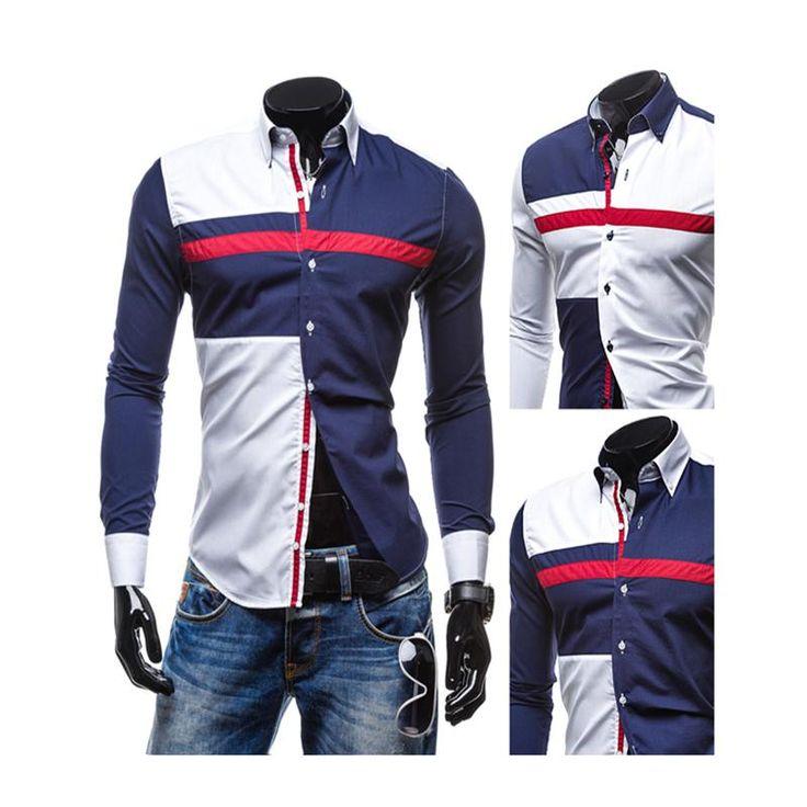 Spring/Autumn Men Fashion Multi Color Patchwork Long Sleeve Slim Fit Formal Dress