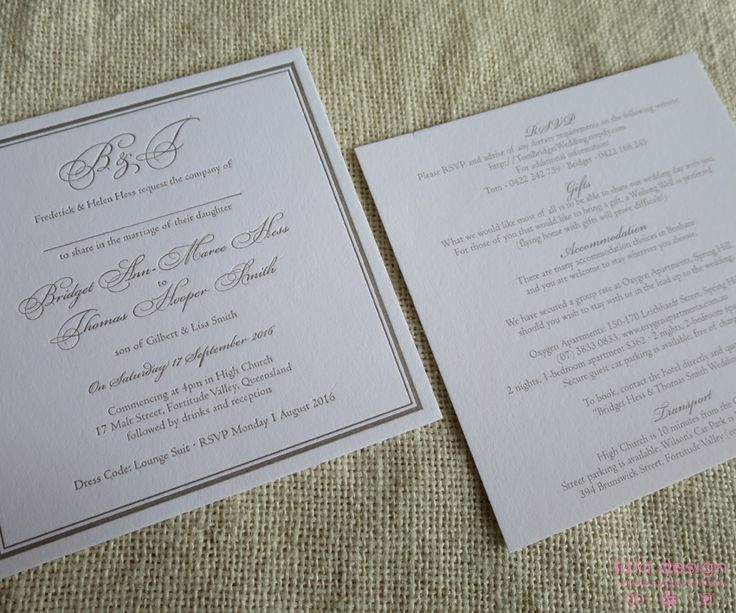Bridget & Thomas Invite + Info Card