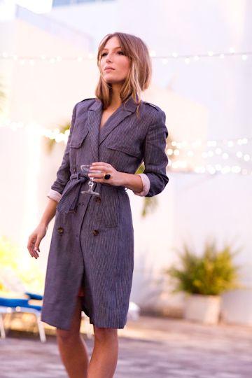 Blazer Trench- Little Navy PinStripe | Emerson Fry: Dressm Emerson, Coats Blazers, Emerson Fry, Fashion Coats, Dresses, Trench Coats, Wear, Blazer Trench Shirt Dress