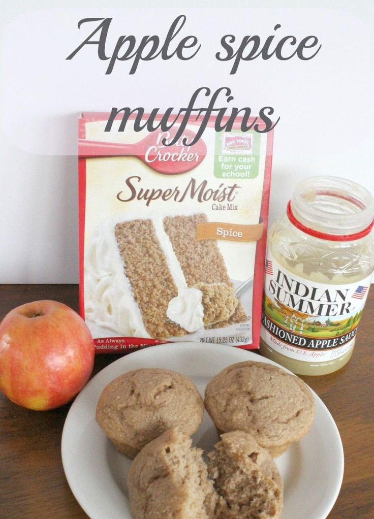 Apple spice muffins are made with only 3 ingredients! I used spice cake, apple sauce and a chopped up fresh apple. A moist, filling and easy muffin to make.