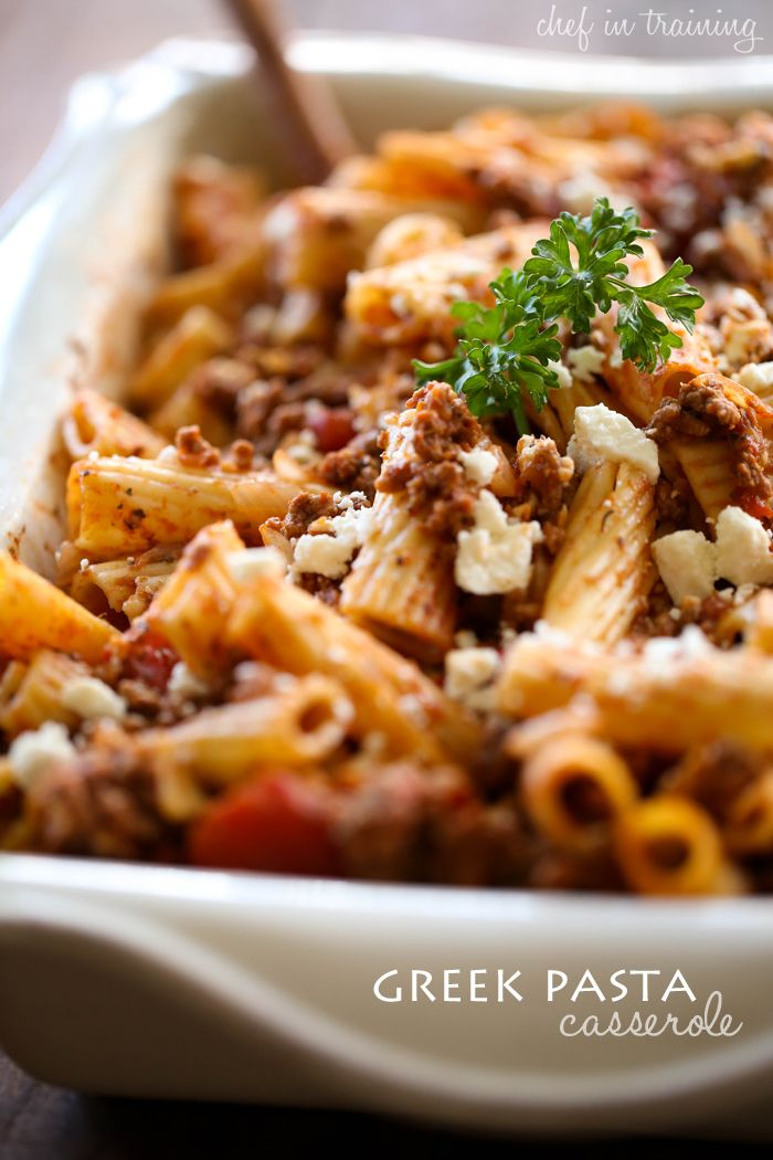 Greek Pasta Casserole from chef-in-training.com ...this meal is easy, quick and delicious! It will soon become a new family favorite!