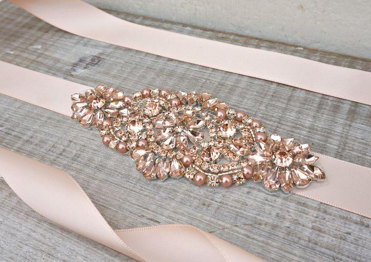Rose gold bridal sash, rose gold bridal belt, sash belt, rhinestone sash, peach sash, wedding dress belt, great gatsby, wedding belt by ConstanceHandcrafted on Etsy https://www.etsy.com/listing/267998166/rose-gold-bridal-sash-rose-gold-bridal