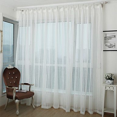 Country+Curtains®+Faux+Linen+Stripe+Sheer+Curtain+Two+Panel+Curtains+Drapes+–+AUD+$+57.24