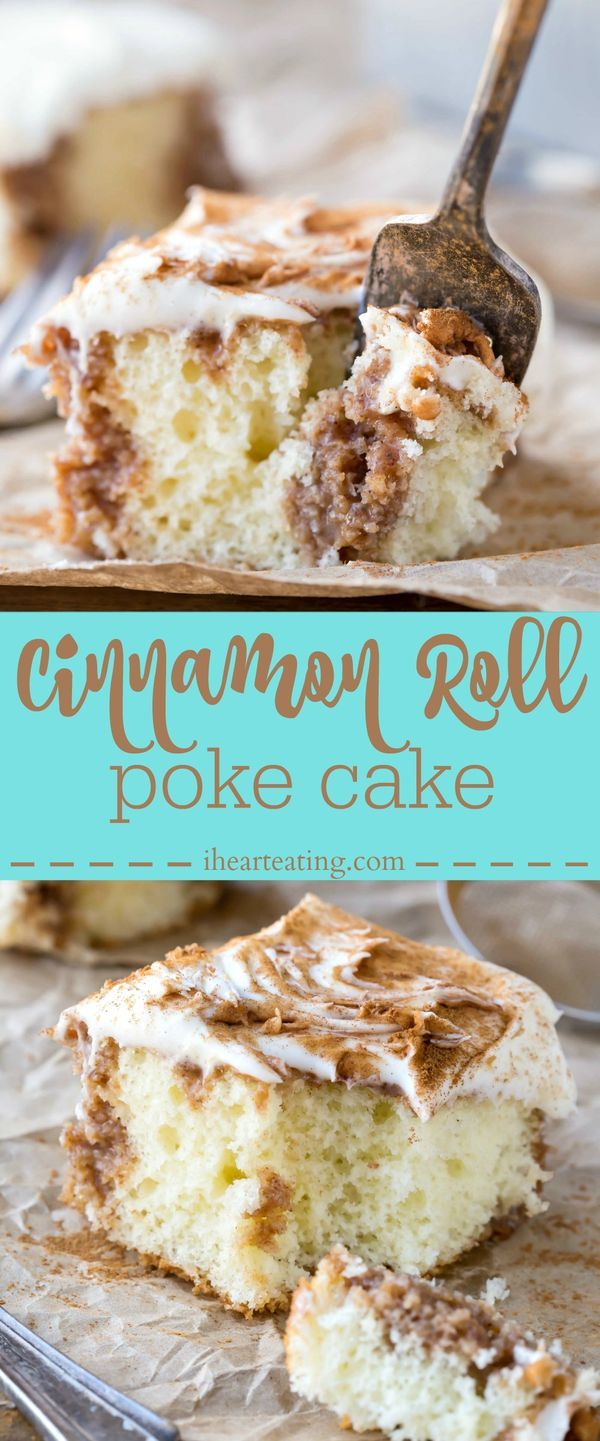 Cinnamon Roll Poke Cake Recipe - this cake makes the best dessert! The cream cheese frosting is amazing, and it's great to make ahead of time.