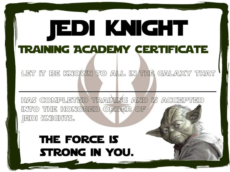 25 best ideas about training certificate on pinterest for Jedi knight certificate template