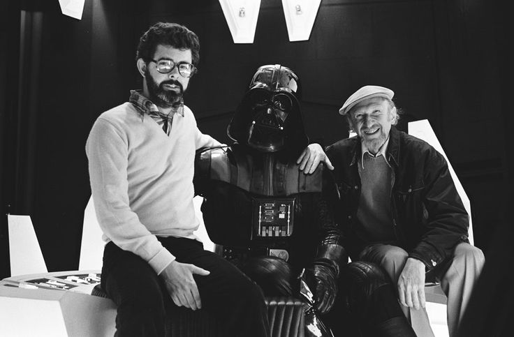 Behind the Scenes Pics from THE EMPIRE STRIKES BACK - Producer George Lucas, David Prowse (Darth Vader), Director Irvin Kershner