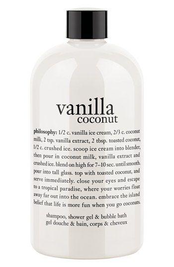 philosophy 'vanilla coconut' shampoo, shower gel and bubble bath | Nordstrom