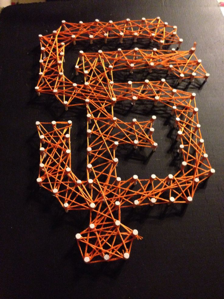 Nail and string lettering. SF Giants!!!!