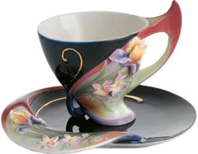 Franz Porcelain Flora and Flutter Butterfly and Flower Cup/Saucer/Spoon