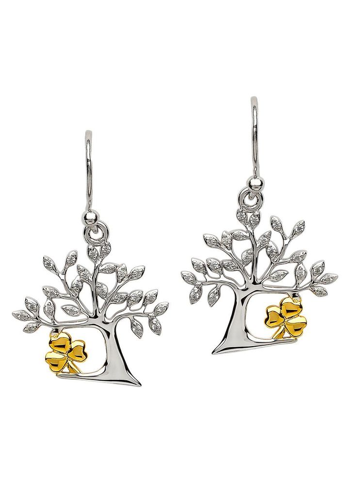 Celtic Tree Of Life Shamrock Earrings: This pair of Celtic Irish handcrafted sterling silver Tree Of Life earrings with a gold Shamrock will add an elegant touch to any attire. A perfect gift for that special someone. #earrings #earring #treeoflife #jewelry #jewellery #irish #ireland #celtic #accessories #gold #goldjewelry #silver #silverjewelry #shamrock #shamrockjewelry #gift #designerjewelry