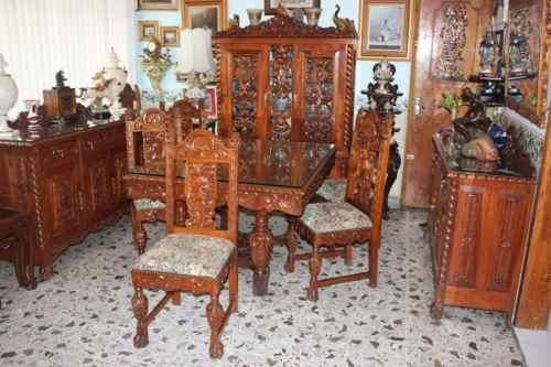 Comedor, Vitrina Y Trinchadores Antiguos 1910 Caoba Labrada $7,77869