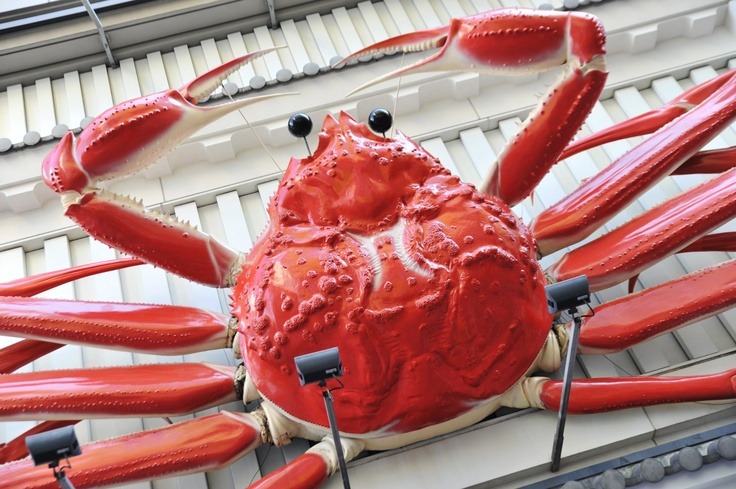 If you are lucky, Giant statue of crab welcomes you to the city. A symbol of famous chain crab restaurant, ''Kanidouraku'', which means gourmandize or fast liver of crab.