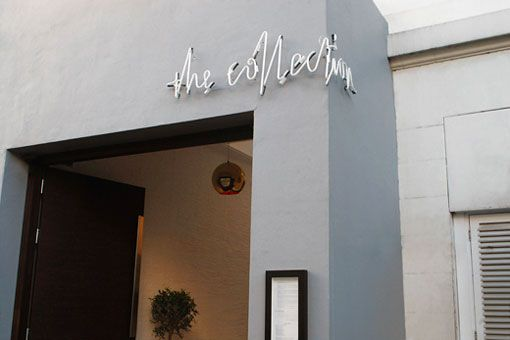 Neon sign around a corner for restaurant The Collection by Mind Design