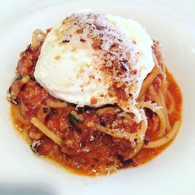 Spaghetti Amatriciana, homemade Pancetta, poached egg