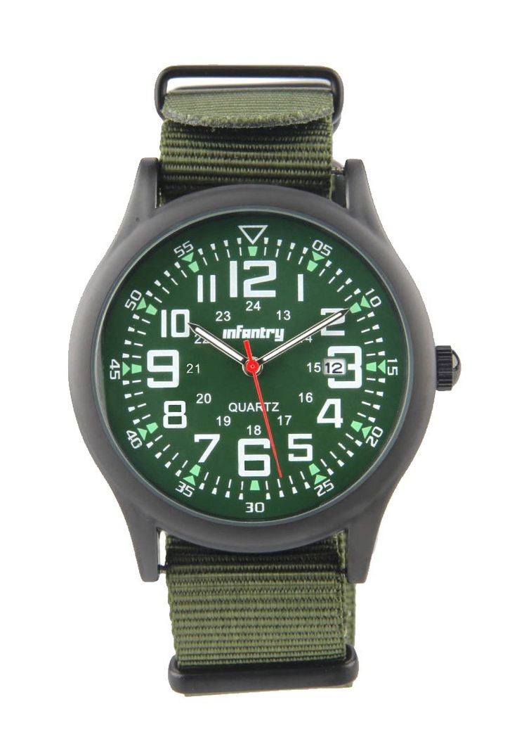 Green Watch IN-005-BG-N Watches by infantry. Green analog watch with round stainless steel case,  case diameter 4.2 cm, with nylon strap, buckle fastening , feature date display, simple watch for everyday use. %0A http://www.zocko.com/z/JHb9s