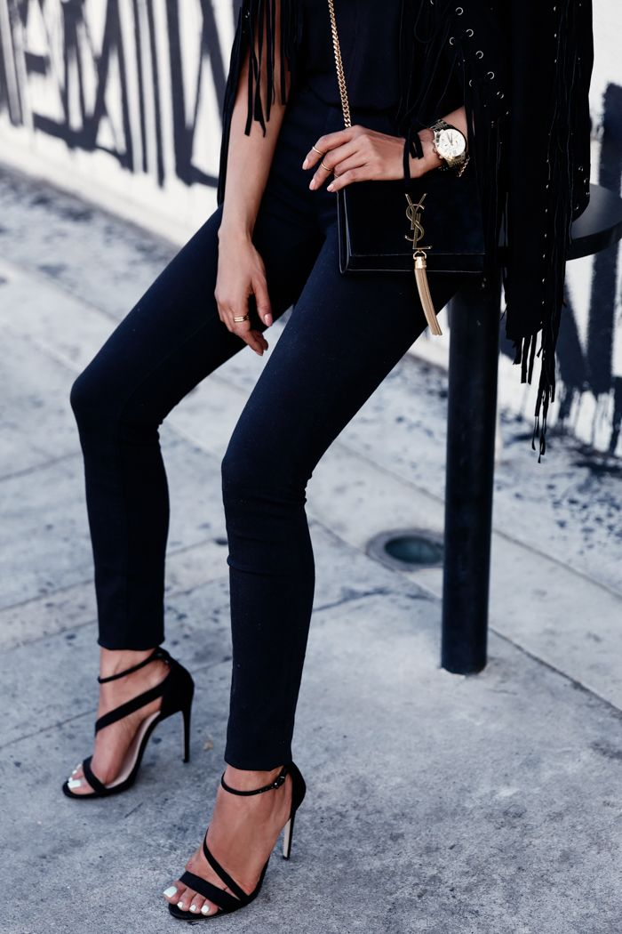 VivaLuxury - Fashion Blog by Annabelle Fleur: FRINGE - ESSENTIEL Fringe suede jacket | EXPRESS mid-rise black jean leggings | SAINT LAURENT small Monogramme tassel chain bag | CARVELA Gosh black strap heeled sandals via ASOS | ESTELLE DEVE Dawn ring set & Ilona ring set August 28, 2015