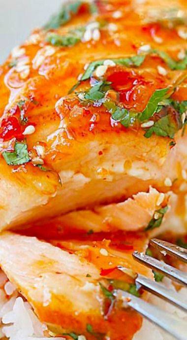 Sweet Chili Salmon ~ quick and easy salmon with Thai sweet chili sauce.