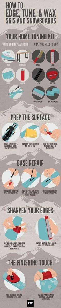 Tuning and Waxing Your Skis and Snowboards | Fix.com https://www.facebook.com/Snowboard-Equipment-174997816033563 #snowboardingtips