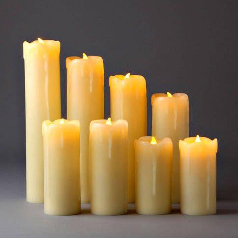 Lights.com | Flameless Candles | Pillar Candles | Slim Drip Flameless Wax Pillar Candles with Timer and Remote, Set of 8