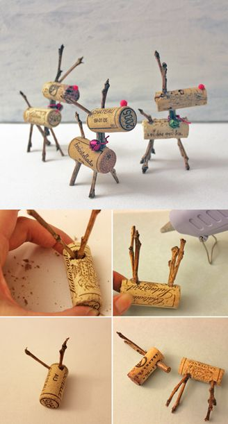 Make Rudolph proud with these easy to make reindeer cork ornaments!