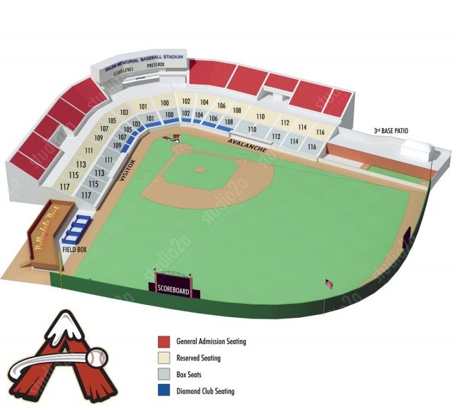 Seating Chart infographic for the Salem Avalanche. Salem Memorial Stadium was constructed for the brand new Salem Avalanche, an affiliate of the Colorado Rockies, in time for the 1995 season. The 2001 season saw Salem's fourth Carolina League Championship as the Avalanche won the title after reaching the playoffs as a Wild Card.