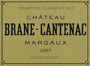 Rótulo do vinho de Bordeaux Château Brane-Cantenac*