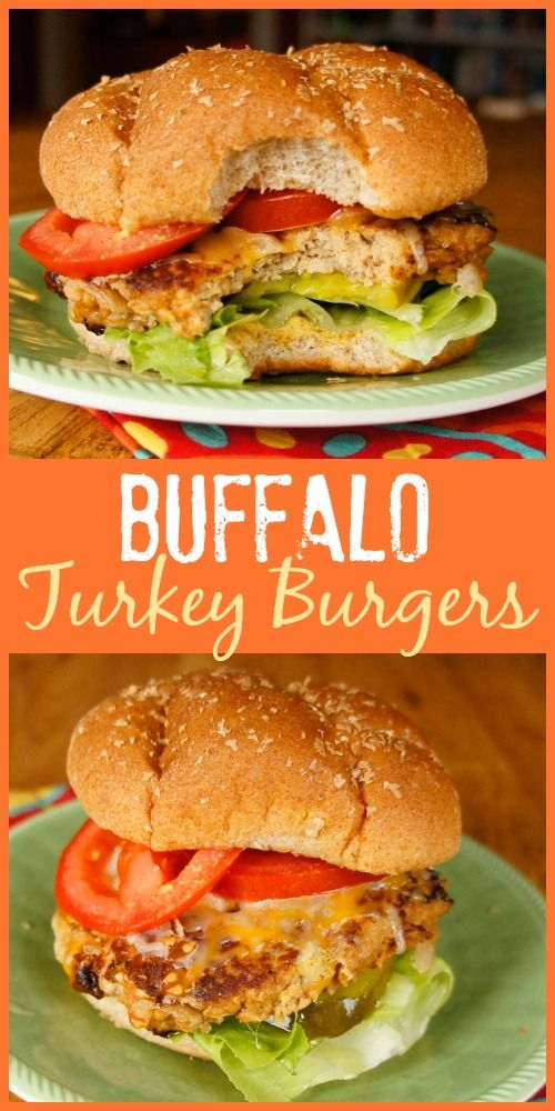 If you love Buffalo wings, you'll enjoy the flavor of these easy Buffalo Turkey Burgers with hot sauce and bleu cheese cooked right in!