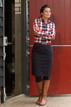 (Plaid button-down, belted black pencil skirt, black tights, cognac boots)