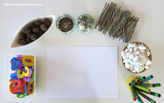 Invitation to play with numbers & found materials from  Learn with Play at home