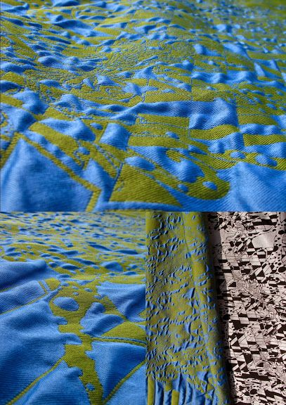 A new approach to the design of jacquard fabric. The use of both sides of the fabric and long intricate patterns. Specially designed weaves made it possible to weave one black and white side and the other side in green and blue colour. Weaves also create the texture of the fabric, combine and divide the layers (a 3D effect).