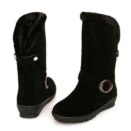 Warm Buckled Decoration Suede Mid Calf Snow Boots Black – teeteecee - fashion in style