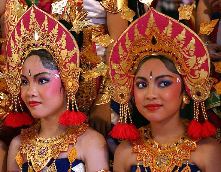 Ramayana dancers from Bali. Love the head dress!